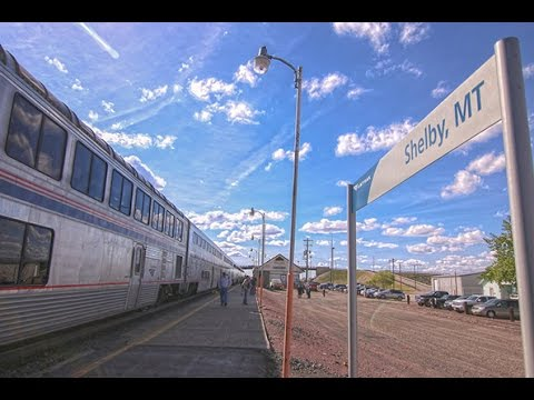 Amtrak Empire Builder Superliner train Red Wing, MN to Seattle WA. Coach train Trails and Rails NPS