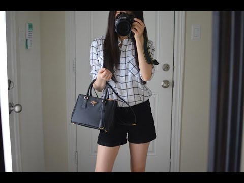 OOTD feat. the Prada Saffiano Lux Tote Purse in Black (Small ...