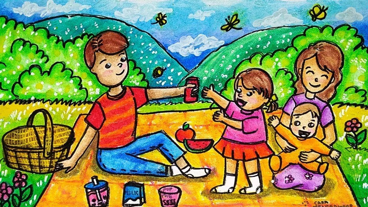 Cara Menggambar Dan Mewarnai TEMA PIKNIK KELUARGA DI KEBUN Dengan Crayon Oil Pastel Yang Bagus