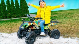 Funny Tema playing with toys ride on power wheels - fun video collection