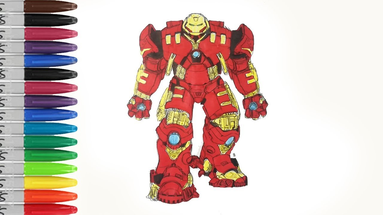 hulkbuster preparing to fight and defeat hulk coloring