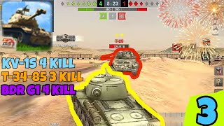 T-34-85 - BDR G1(Last 3Hp) - KV-1S  Wot Blitz Gameplay #3