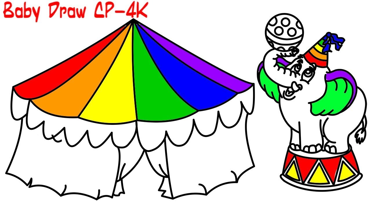 Circus Elephant Coloring | Circus Coloring Book and Drawing For ...