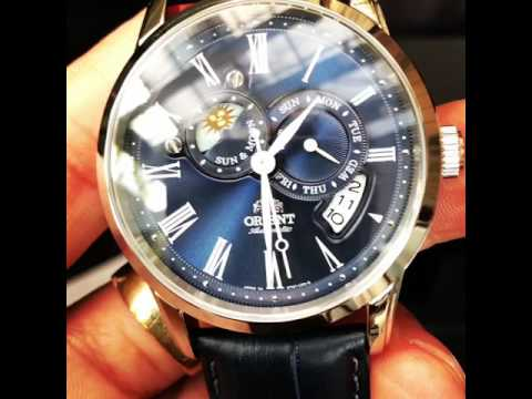 Orient Sun & Moon Sapphire Japan Automatic Gent's Leather Watch