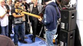 Crazy bass playing by Janek Gwizdala  at the TC Electronics stand, NAMM 2009