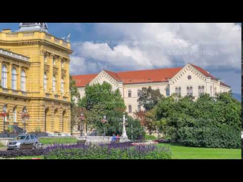 The building of the Croatian National Theater timelapse. Croatia, Zagreb