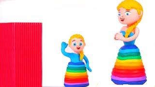 BABY ELSA LOVES FROZEN ELSA RAINBOW DRESS ❤ Spiderman, Hulk & Frozen Elsa Play Doh Cartoons For Kids