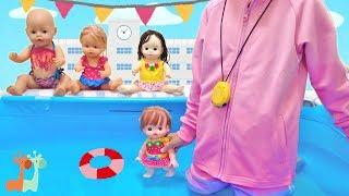 メルちゃん 学校 プールの授業 先生ごっこ / Swim Class , Mell-chan Doll , Baby Born , Nenuco thumbnail