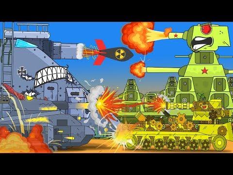 Tanks attack the enemy. Cartoon tanks for kids. Tank vs tank. Monster Truck kids Cartoon.