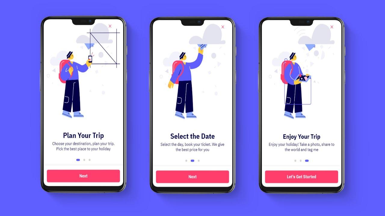 Travel Holiday App Onboarding Walkthrough Screen UI Design Adobe XD to Android Studio