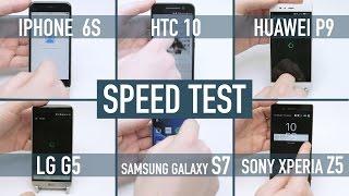 smartphone speed test iphone 6s v galaxy s7 v htc 10 v lg g5 v huawei p9 v xperia z5