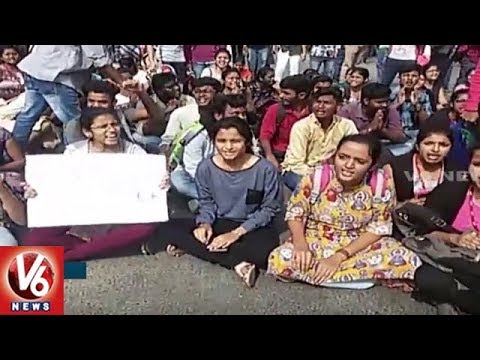 CBIT Students Protest Against College Management Over Fee Hike | Hyderabad | V6 News