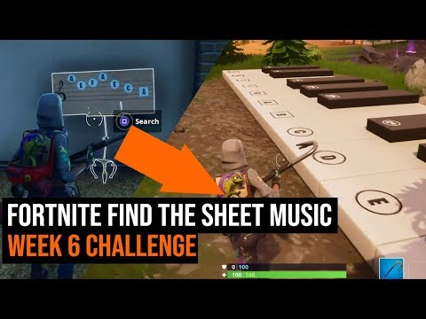 How to find the sheet music and play the piano - Fortnite Season 6 Week 6 challenge