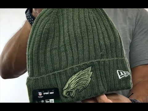 Eagles  2017 SALUTE-TO-SERVICE  Knit Beanie Hat by New Era - YouTube 3b642811bdf
