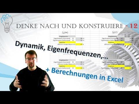 Berechnungen im Excel; Dynamik, Eigenfrequenzen - Denke nach und konstruiere - 12