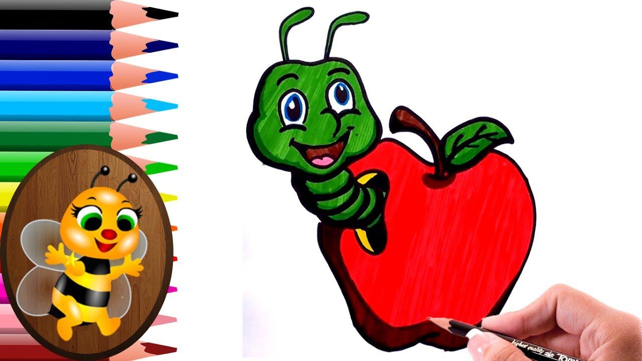 Dibujando Y Coloreando De Gusano Dentro De La Manzana