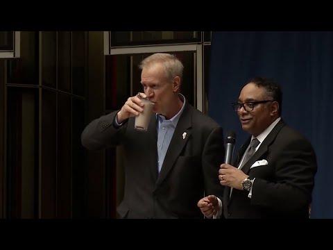 Illinois Governor Bruce Rauner drinks chocolate milk to show diversity is