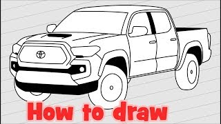 How to draw a car Toyota Tacoma 2018 Pickup Truck