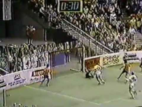 Wichita Wings' Chico Borja scores game winner with 30 seconds left. December 3, 1985.