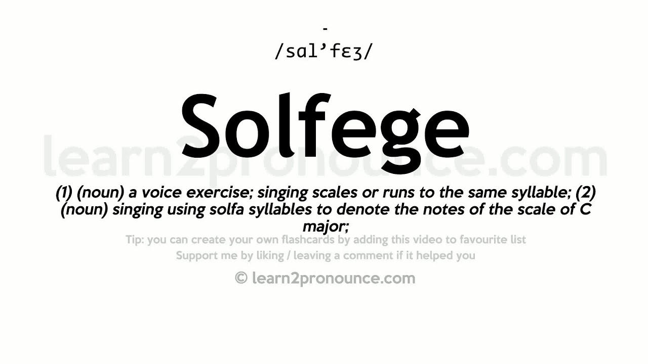 Solfege Pronunciation And Definition