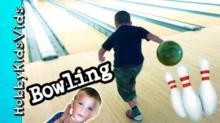 One of HobbyFamilyTV's most viewed videos: First Time BOWLING! HobbyPig + HobbyFrog, HobbyBear Strike Out HobbyKidsVids