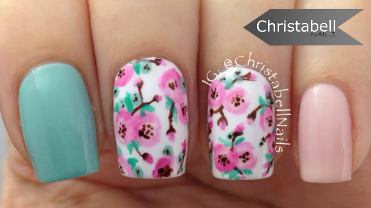 Pretty Floral Nails With A Striper Brush Nail Art Tutorial Youtube