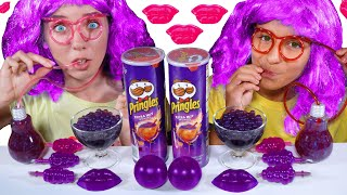 ASMR PURPLE FOOD JELLY BALLS, POPING BOBA, TIK TOK JELLY FRUITS EATING MUKBANG