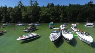 lake winnipesaukee sandbar drone footage summer days boat cruise