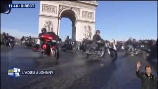 Le cortège des Bikers a l'enterrement de Johnny Hallyday