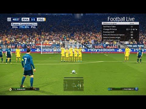 PES 2018   Real Madrid vs PSG   Free Kick Goal C.Ronaldo   Final UEFA Champions League (UCL)