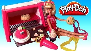 Play Doh Barbie Pastry Chef Make Bake Decorate Cakes Cupcakes Sweets Treats with Kitchen Baking Toy