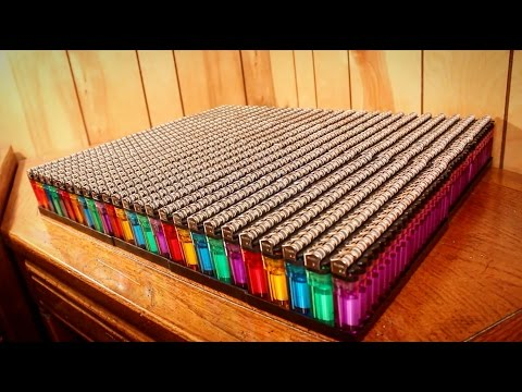 1000 Lighters In Fire - Crazy Lighter Explosion!