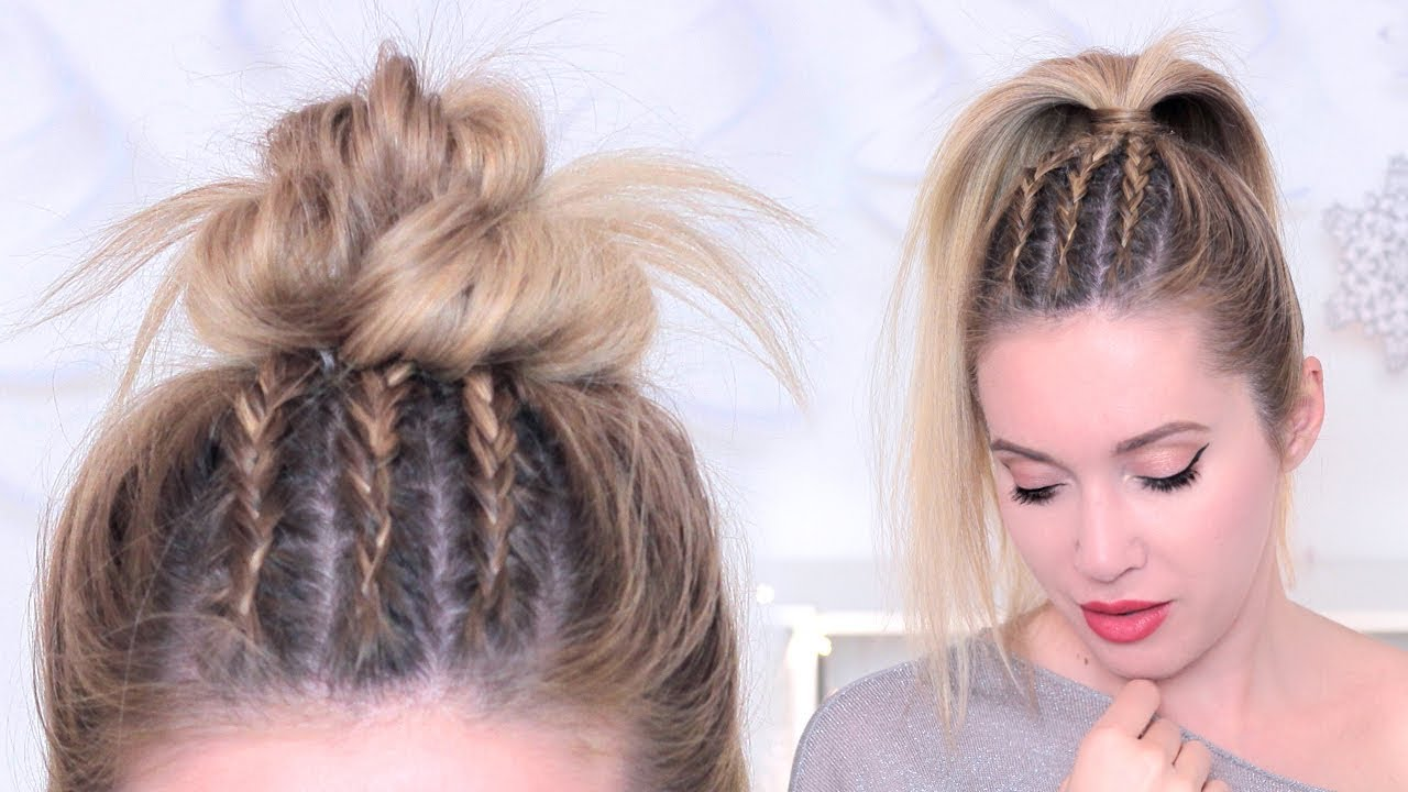 Tuto Tresses Africaines Plaquees Collees Messy Bun Rentree Scolaire Youtube