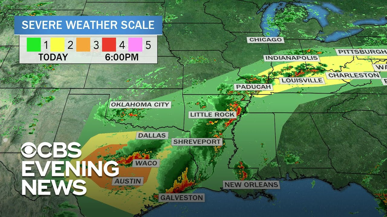 Severe weather forecast from Southern Plains to East Coast