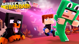 Minecraft BIG BAD BABY - EVIL BABY NEIGHBOUR HAS SCARY DRAGONS!!!