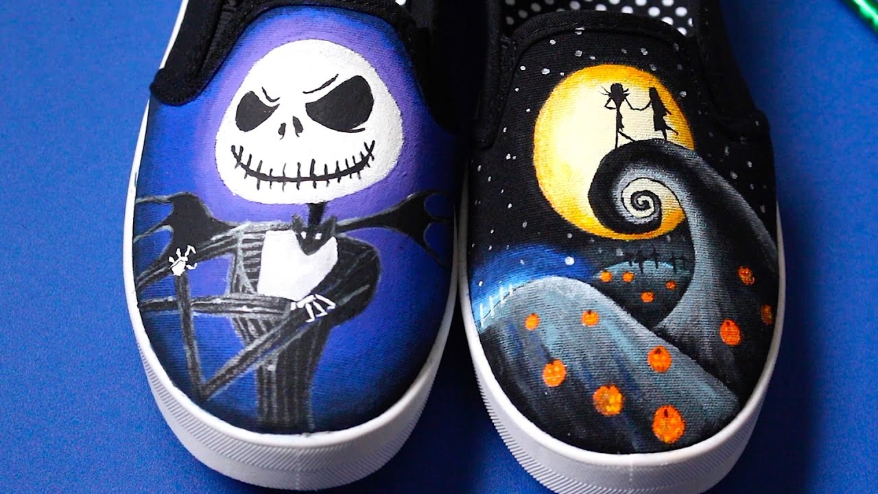 a91057861710 Nightmare Before Christmas Painted Shoes! Glow In The Dark! - YouTube