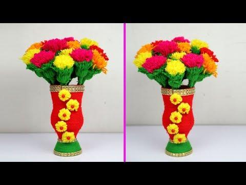 Plastic bottle and woolen flower vase/Guldasta making - Water bottle recycle flower vase art
