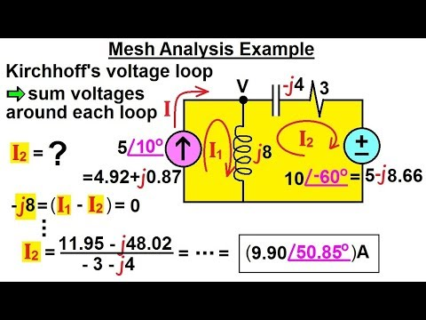 electrical engineering ch 11 ac circuit analysis (5 of 55) meshelectrical engineering ch 11 ac circuit analysis (5 of 55) mesh analysis example