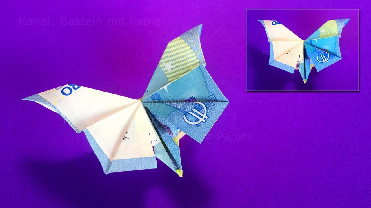 Geldscheine Falten Fliege Origami Butterfly How To Fold Money