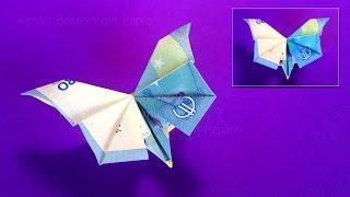Gambar cover Geldscheine falten Schmetterling - Geld falten. Geldgeschenke basteln mit Papier-Geld: Origami Tiere
