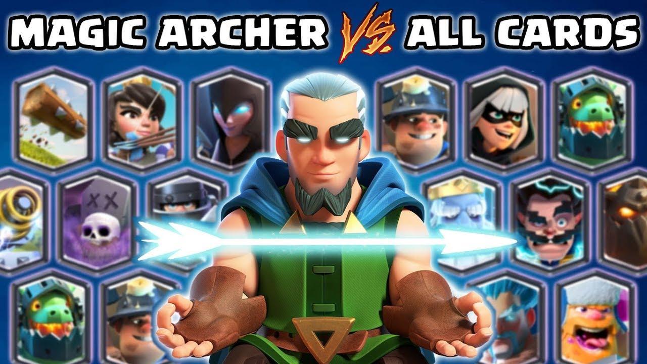 Magic Archer vs Todas las cartas en Clash Royale | Juego de Arquero Mágico + vídeo