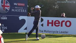 Thorbjørn Olesen Golf Swing - Driver (face-on view), Sky Sports British Masters, October 2018.