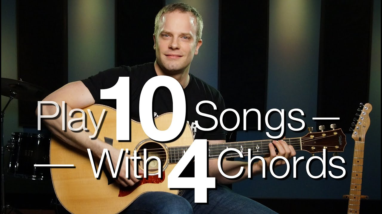 Play 10 Songs With 4 Chords Free Guitar Lessons Youtube