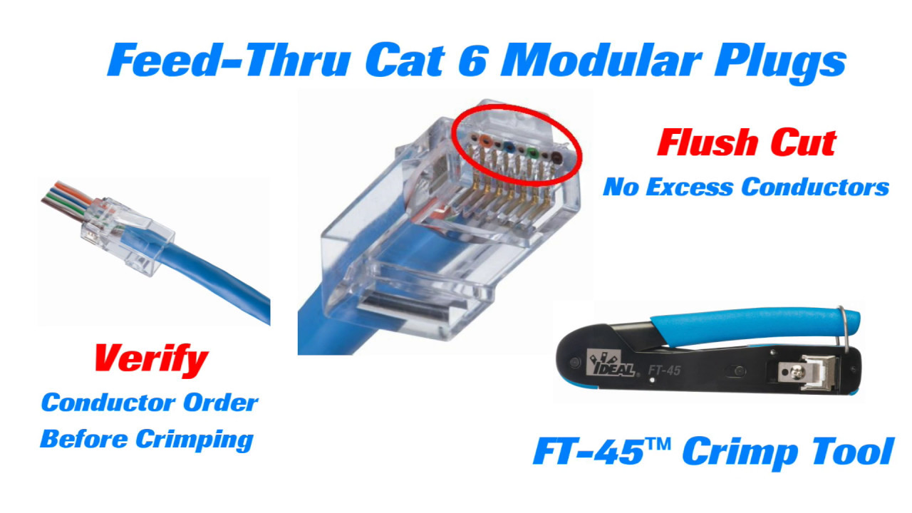 IDEAL Cat 6 Feed Thru Modular Plugs Short - YouTube