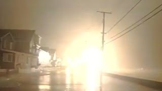 Raw: Maine Storm Surge Sparks Power Explosions