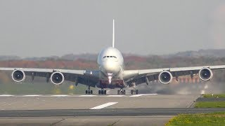AIRBUS A380 ROLLERCOASTER RIDE before LANDING - A380 CROSSWIND LANDING during a storm (4K)