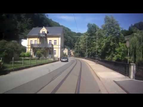 Bad Schandau to Lichtenhain Waterfall, Driver's Eye View on the Kirnitzschtalbahn, Germany: 06/07/15