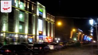 Предновогодний вечерний Саранск из окна автомобиля