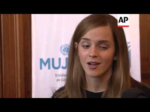 Hundreds turn out to greet Emma Watson at Uruguayan parliament as she calls for a higher representat
