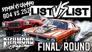 The RVA List, List vs List Final Showdown Dodge DEMON (252) VS Chevy CAMARO (804)